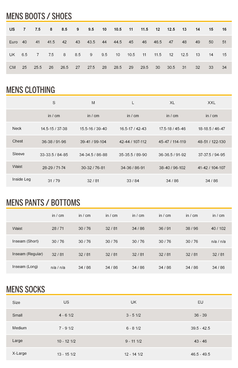 Size Chart | CAT Footwear